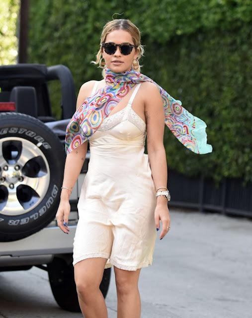 Rita Ora in a frisky silk slip dress out in Los Angeles