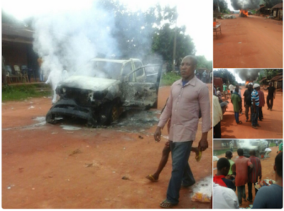 Angry Youths Catch Alleged APC Member With Ballot Papers In Imo, Set His Truck Ablaze. Photos