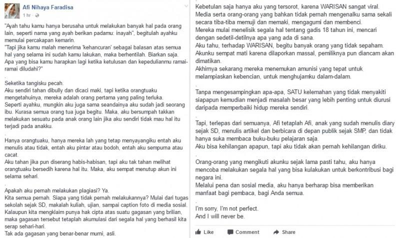 Klarifikasi Afi Nihaya Faradisa soal tudingan plagiat