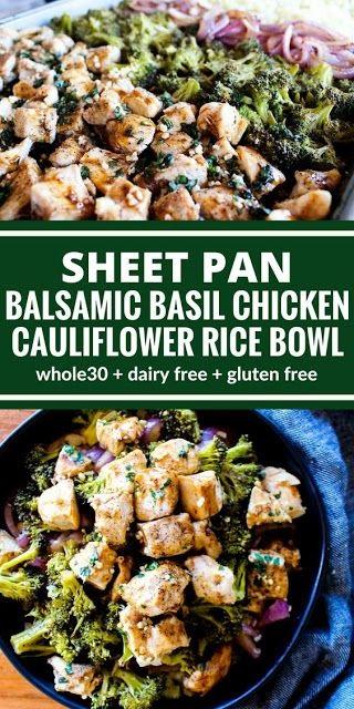 Sheet Pan Balsamic Basil Chicken Cauliflower Rice Bowl