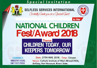 COMR. OSUAGWU GERALD AND SSI SET FOR National Children Fest/Award 2018
