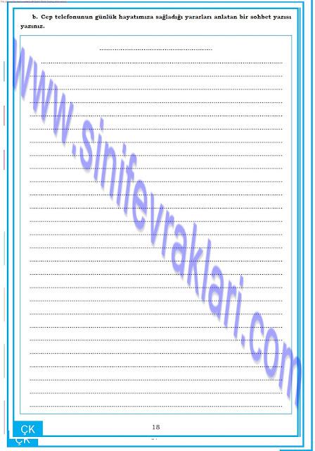 8. Sınıf Türkçe Dörtel Yayınları Çalışma Kitabı Cevapları Sayfa 18