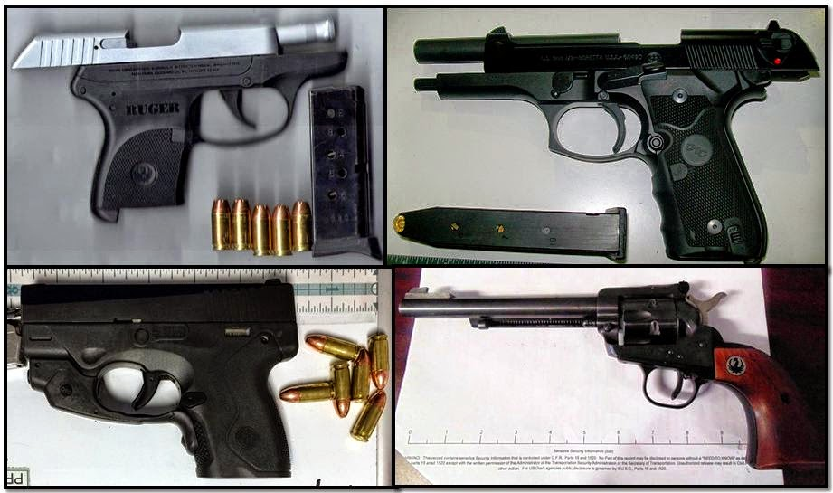 Clockwise from top left, firearms discovered at: PHX, OAK, HRL & FLL