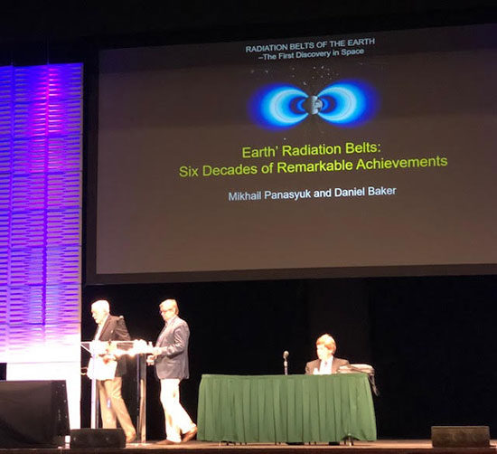 General session talk on history of Earth's radiation belts and cooperation between Russia and US (Source: COSPAR 2018)