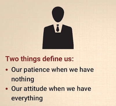 Two things define us:  a) Our patience when we have nothing. b) Our attitude when we have everything.