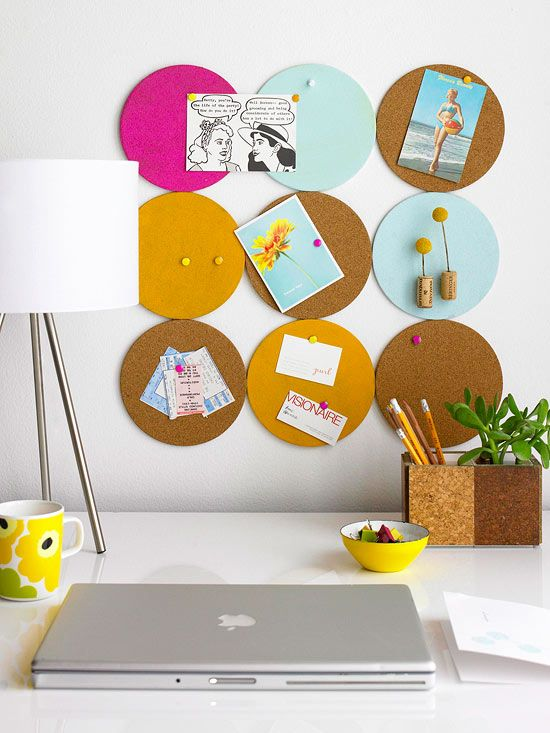 DIY Christmas gift idea - colorful round pin board