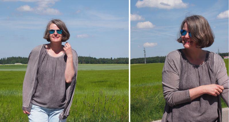 Steingraues Twinset zu himmelblauer Jeans kombiniert