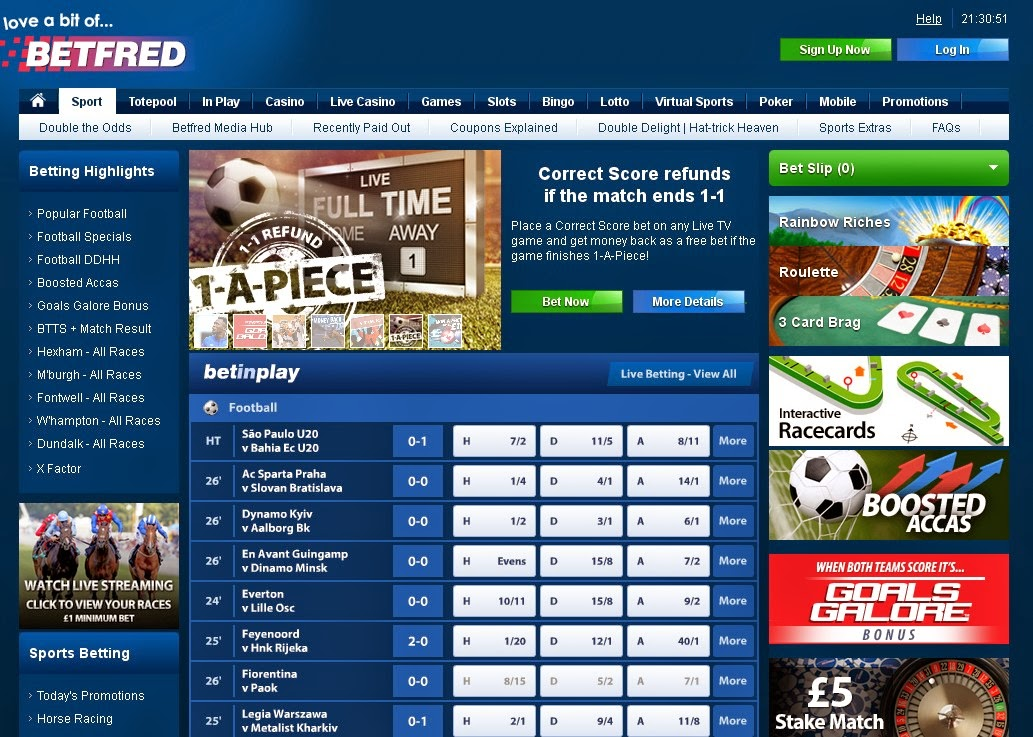 Betfred Sportsbook Screen