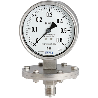 industrial pressure gauge with diaphragm seal installed
