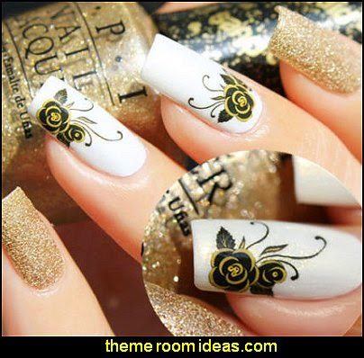 NAIL ART WATER TRANSFER STICKERS BLACK ROSES STYLE
