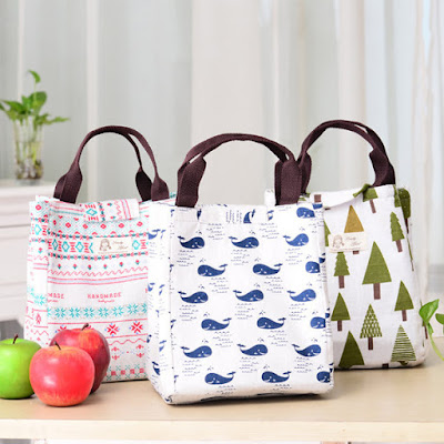 5 Fresh Pastoral Simplicity Style Waterproof Canvas Hand-held Lunch Bag Storage Bag