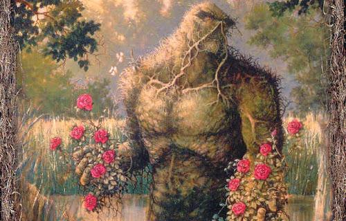 O Monstro do Pântano, em meio a seu habitat, oferece buquês de flores vermelhas