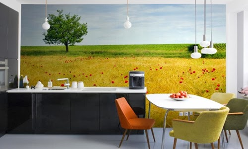 Favorite Things Home Decor: Kitchen Decor With Unique Wall Mural