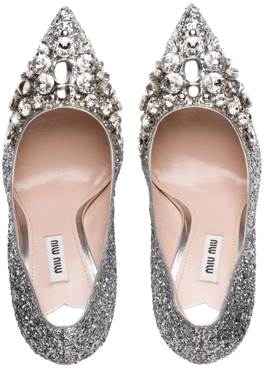 Miu Miu Embellished Silver Pumps