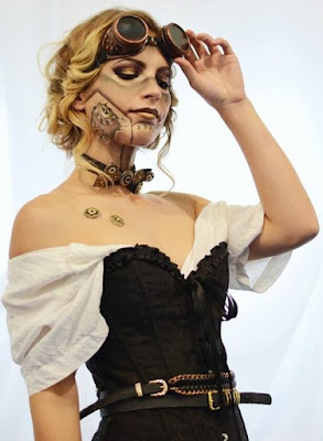 Steampunk special fx makeup. MUA create robots with rivets and gears beneath their skin.