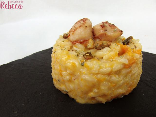 Risotto de calabaza y gorgonzola con vieiras