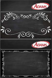 Blackboard Style, Free Printable Gum Adams Labels.