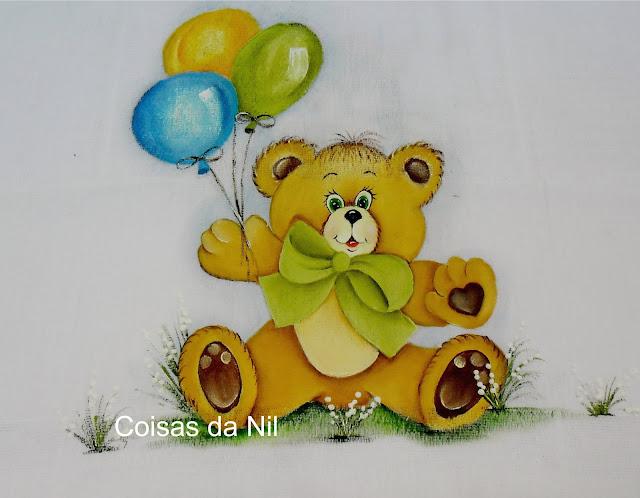 fralda pintada ursinho com balões