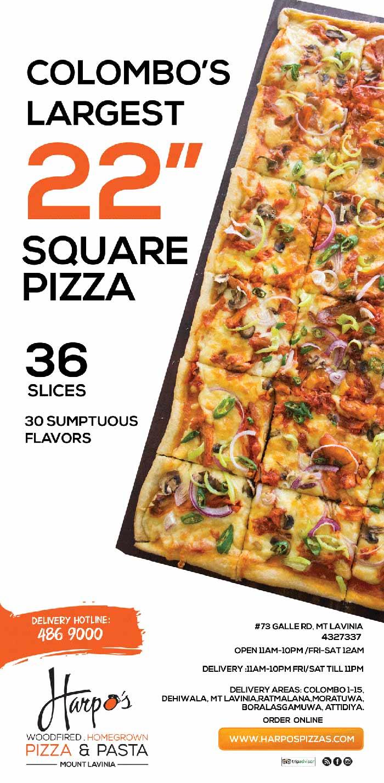 "Harpo's Pizza | Enjoy Colombo's Largest 22"" Square Pizza@ Mt Lavinia! 4327337"