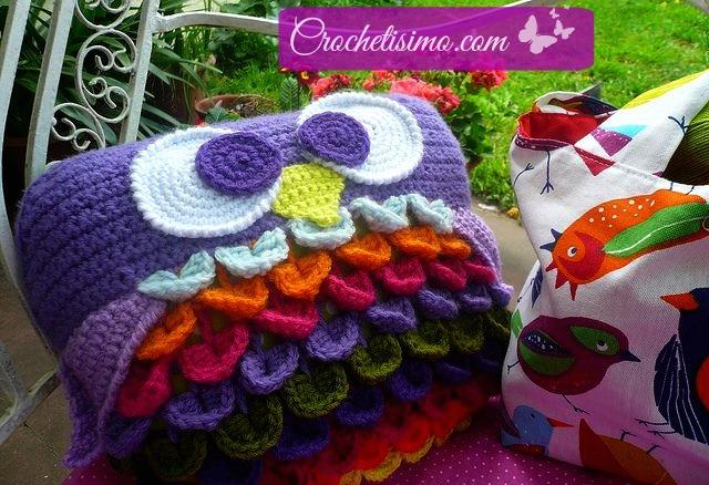 Cojín Búho en crochet con patrón