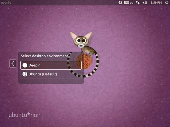 Interface do Linux Deepin no Ubuntu