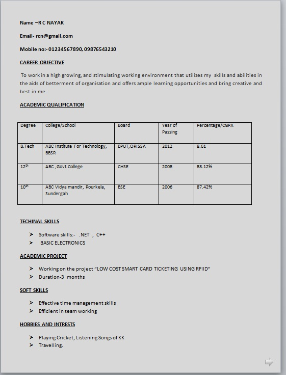 simple resume format for students