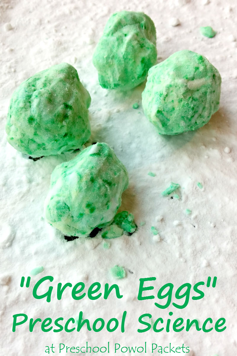 Fizzing Green Eggs Science for Preschool | Preschool Powol Packets