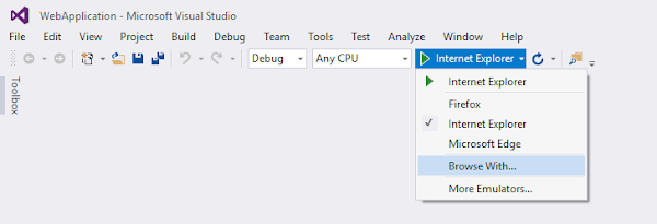 Navigate to 'Browse With...' menu item from Visual Studio