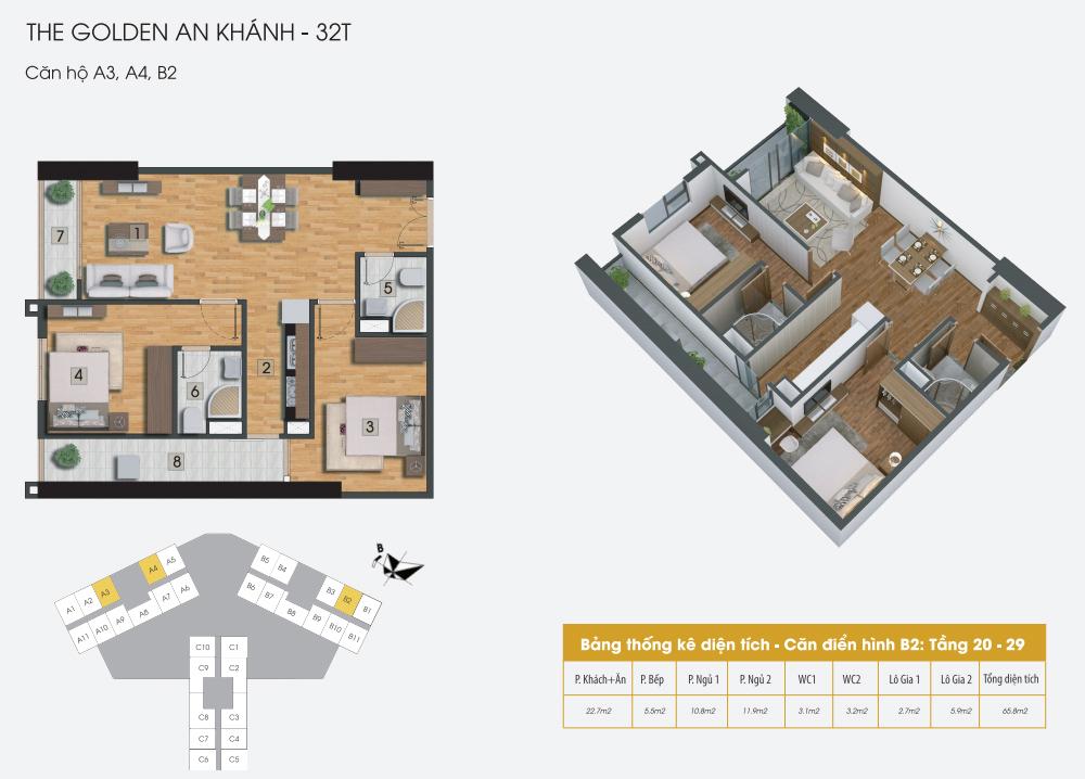 Mặt bằng điển hình căn hộ A3, A4, B2 dự án The Golden An Khánh