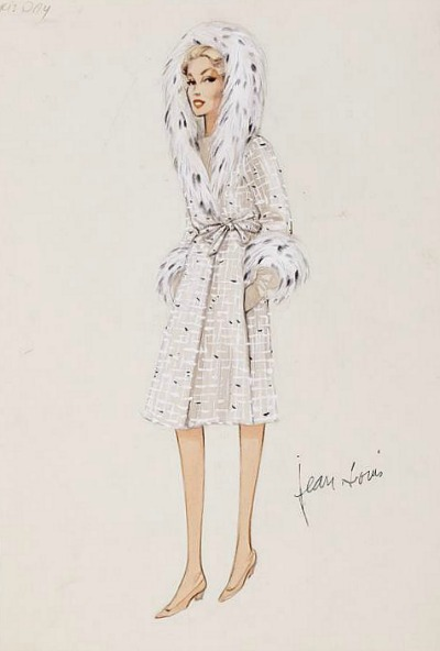 Jean Louis Sketch for Doris Day in 1959's Pillow Talk