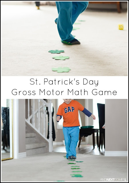 St. Patrick's Day themed gross motor math activity for kids from And Next Comes L