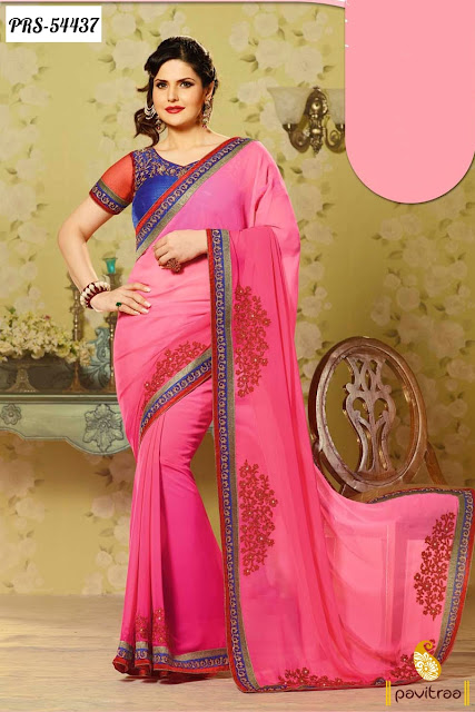 pink color bollywood actress zarine khan New Year 2016 sarees online collection with lowest prices