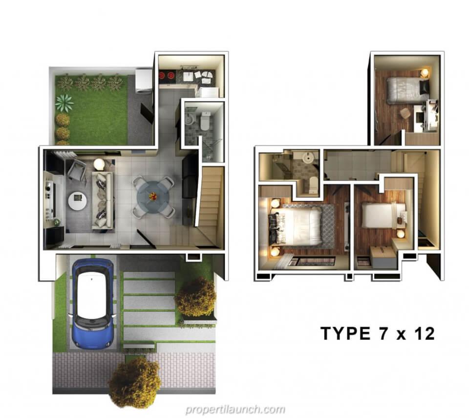 Denah Rumah Savasa Panasonic Tipe 7x12