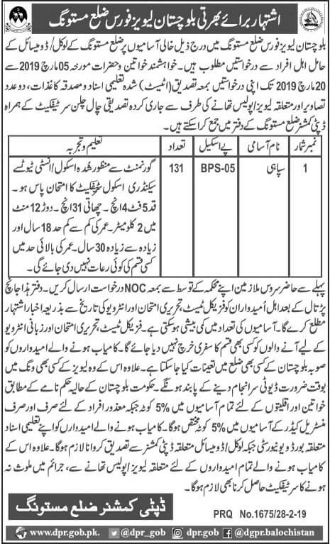 Jobs in Levies Force Mastung balochistan