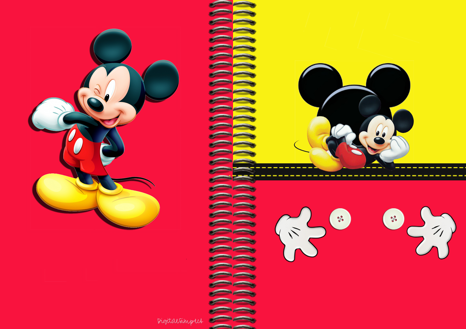 Mickey Free Printable Notebook Cover.