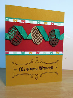 Christmas card by Yvon Hamas featureing StampinUP's Pretty Pines die set