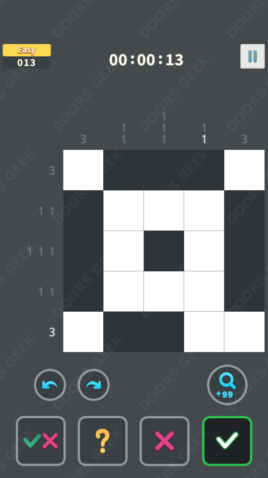 Nonogram King Easy Level 13 Solution, Cheats, Walkthrough for Android, iPhone, iPad and iPod