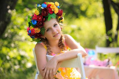 girl with flower wreath on hair