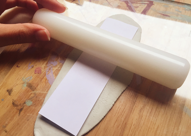 Paper template rolling pin clay