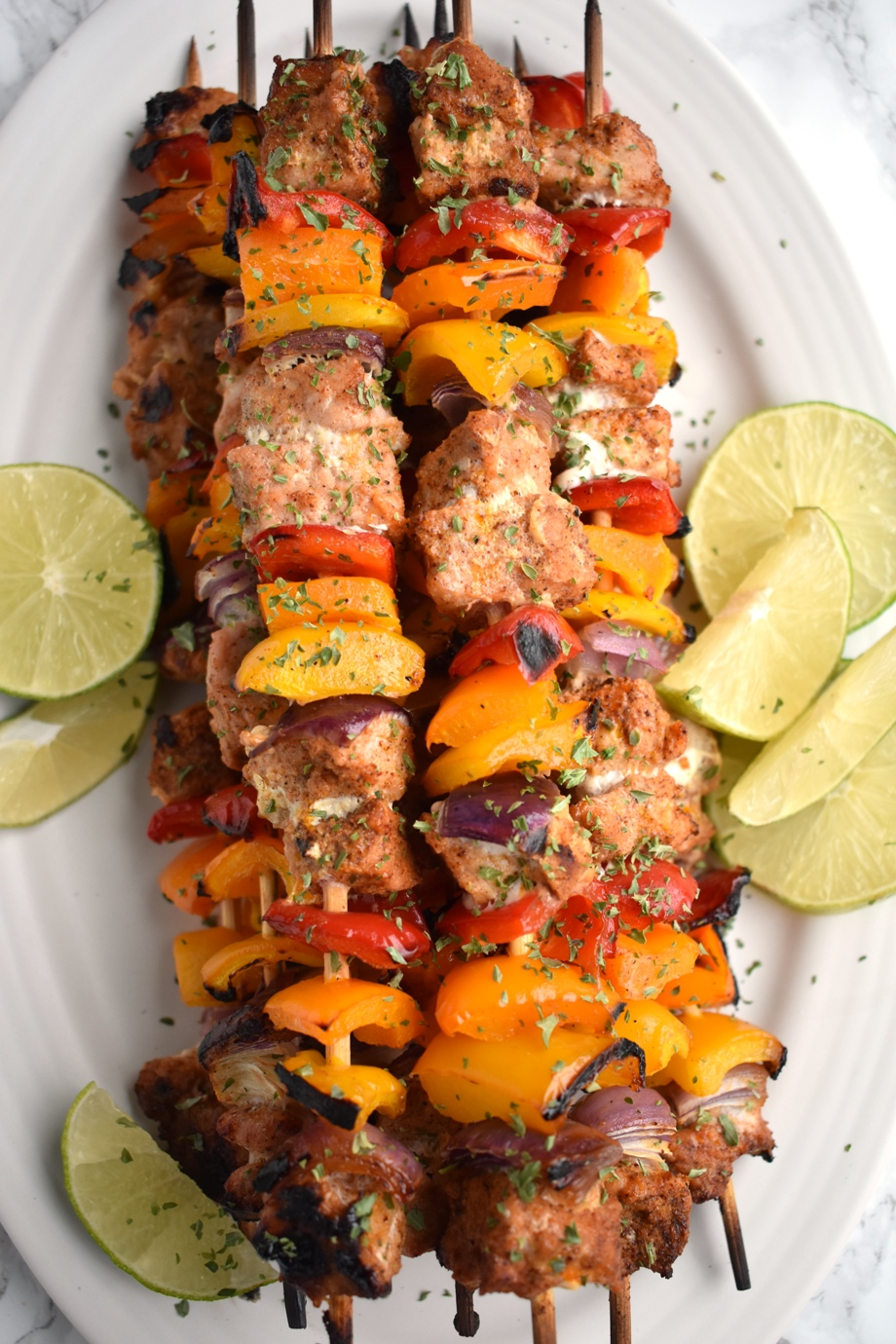 Healthy pork fajita kebabs