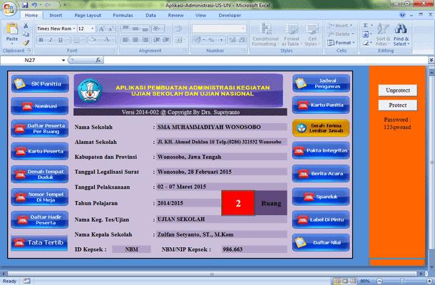 Aplikasi Administrasi US dan UN Format Microsoft Excel