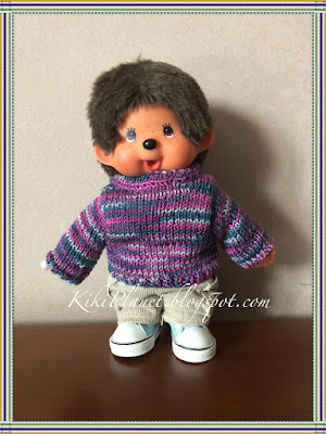 kiki monchhichi knitted sweater handmade fait main tricot pull vêtement clothes poupée