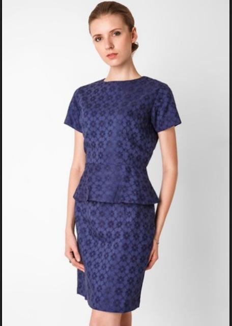 Model baju batik kerja wanita type semi peplum