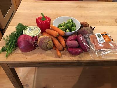 beets, rutabega, dill, parsnip, yogurt, salmon