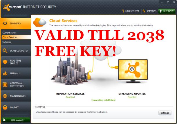 avast free antivirus license key till 2038