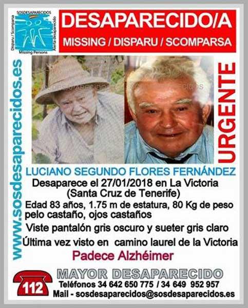 Desaparecido anciano con alzheimer en La Victoria, Tenerife,  Luciano  Segundo Flores