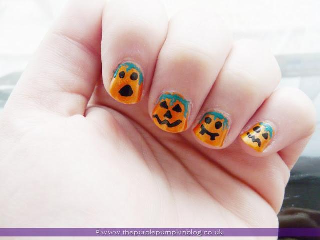 Pumpkin Jack O'Lantern Nail for Halloween at The Purple Pumpkin Blog
