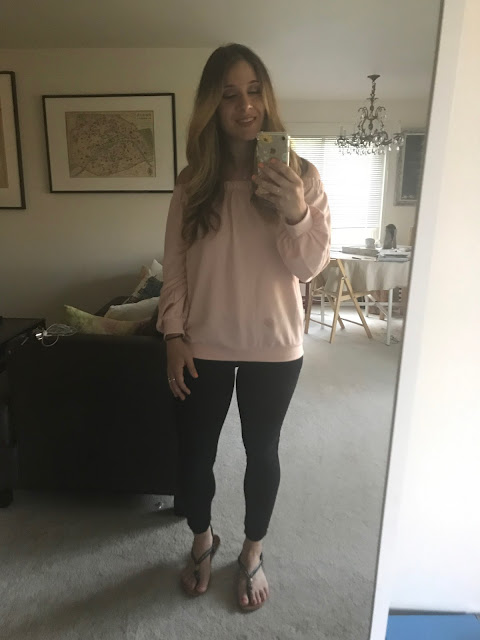 Pink off the Shoulder sweater with Black Skinny Pants