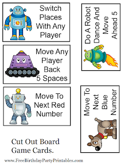 Free Robot Birthday Party Printables- Game Board Cards