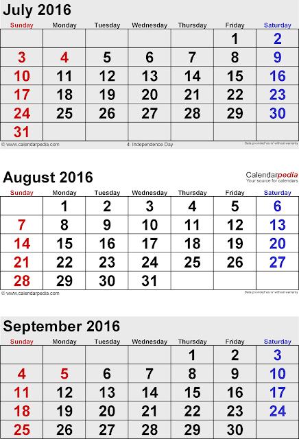 September 2017 blank calendar
